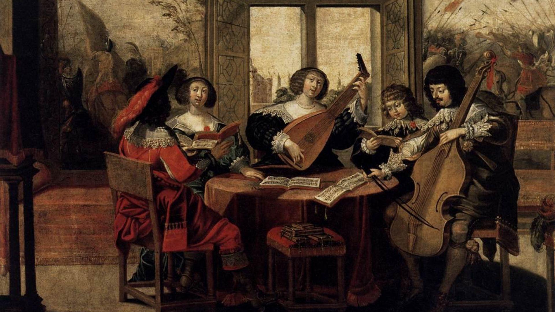 Représentation de trois chanteurs et deux instrumentistes
