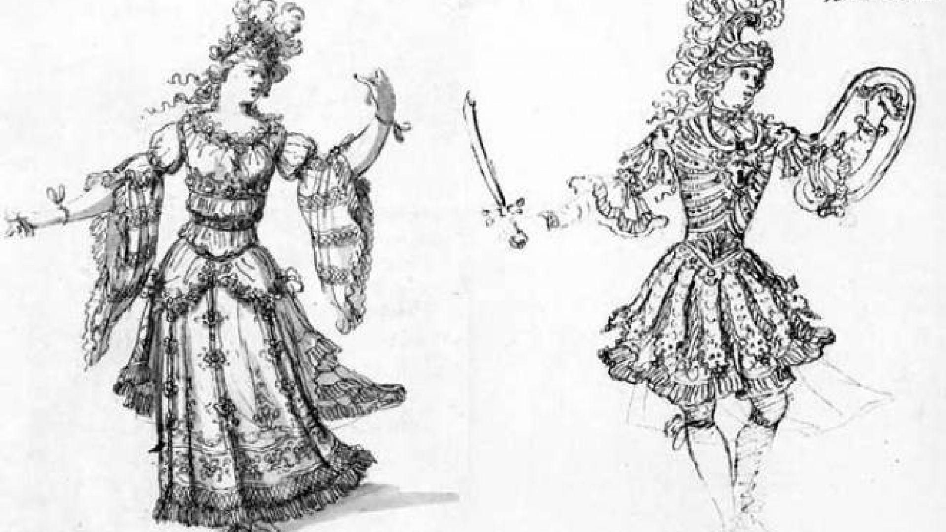 Armide projets de costumes par Jean Berain nymphe et héros pour Armide de Quinault et Lully, 1686