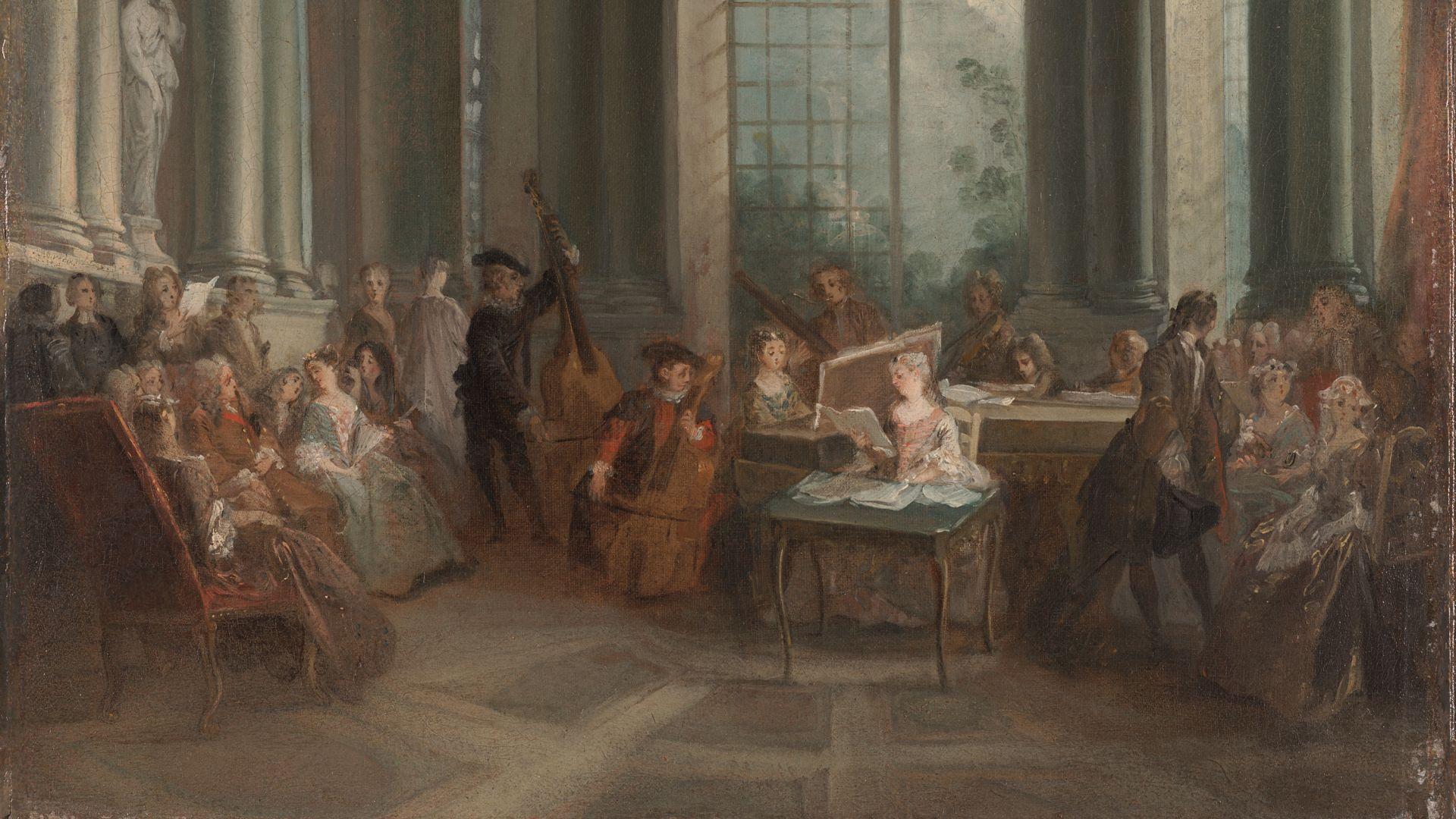 Petit concert dans le salon de Pierre Crozat, six musiciens. Peinture de Lancret.