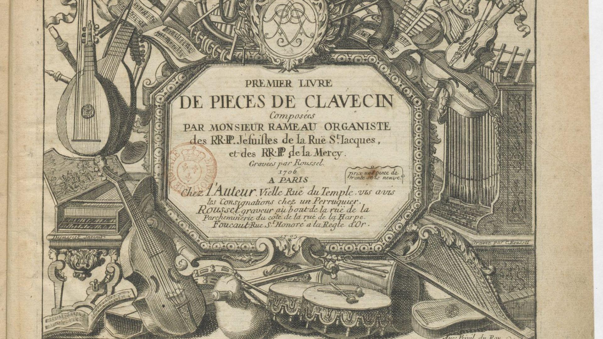 Page de titre du premier livre de clavecin de J-Ph. Rameau