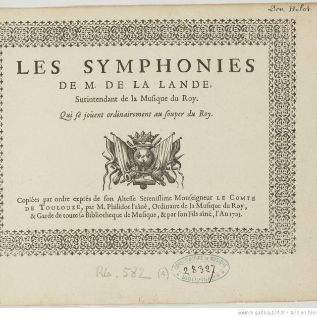 Symphonies pour les soupers du roi