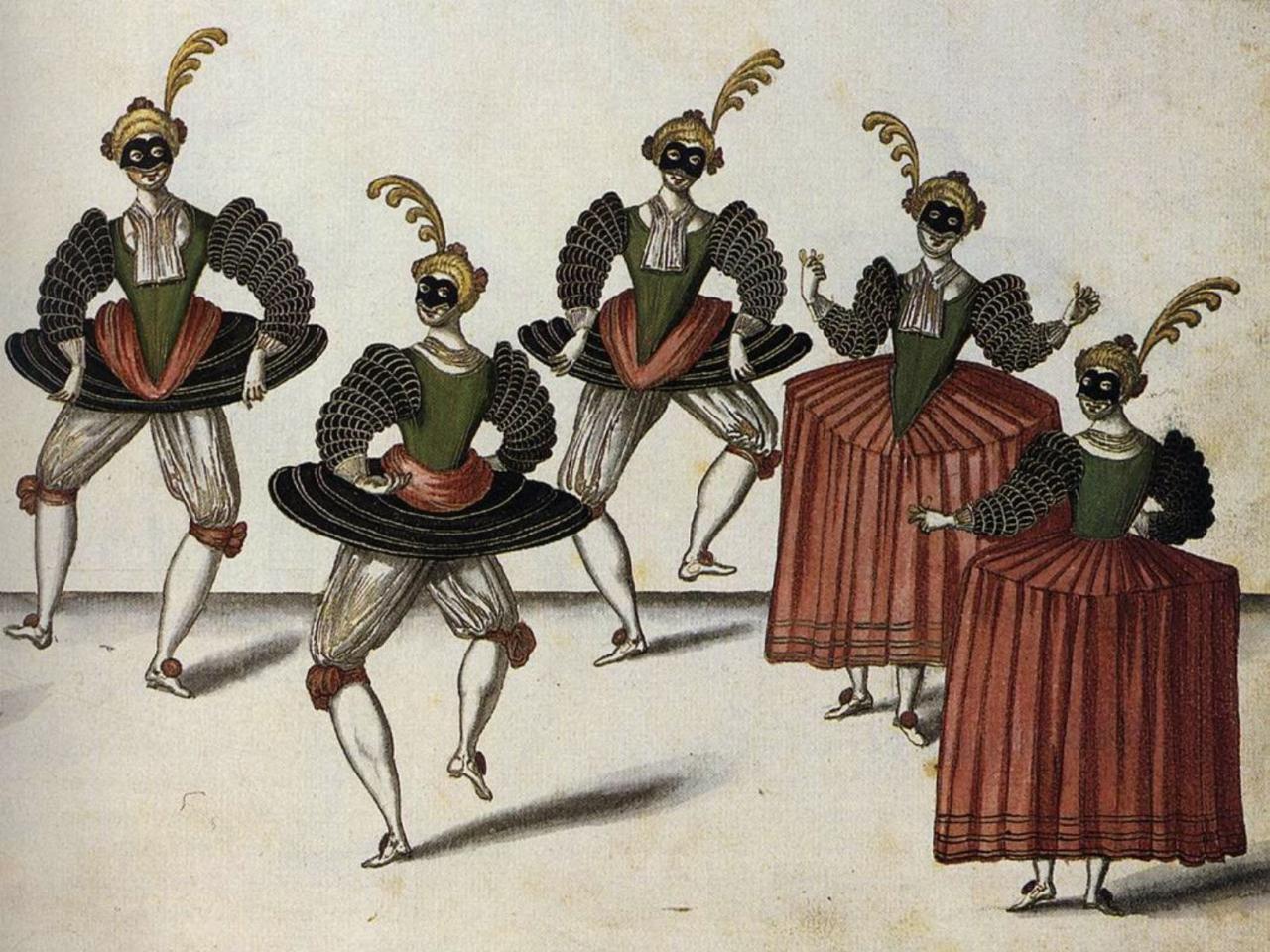 Cinq danseurs en grande tenue de ballet
