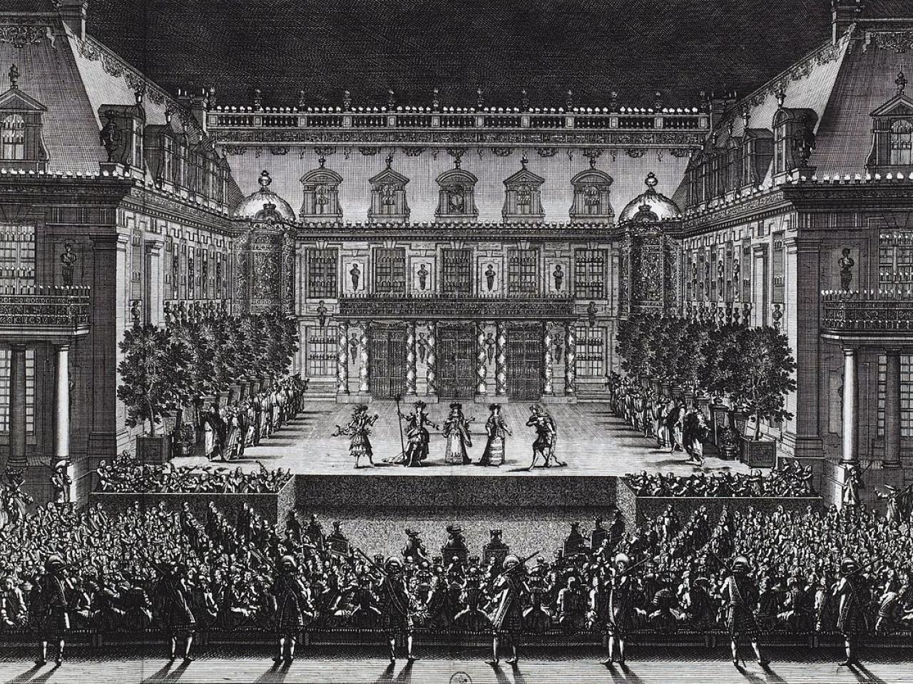 Représentation d'Alceste dans la cour de marbre du château de Versailles. Gravure de Jean Lepautre
