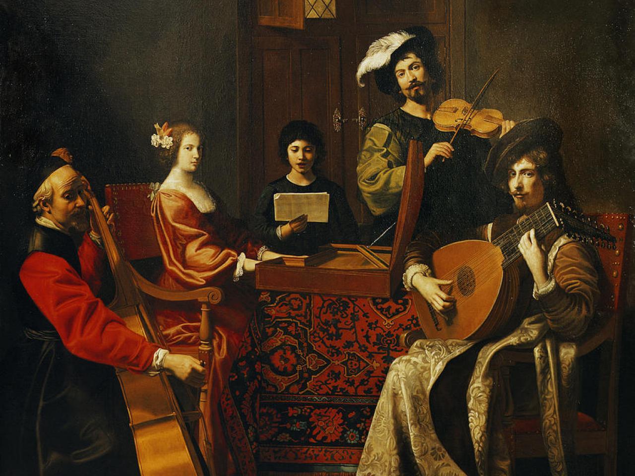 Peinture d'une scène de musiciens par Tournier